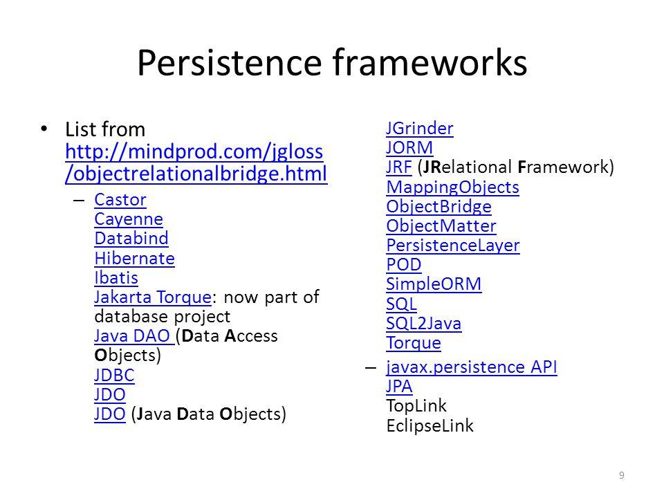 Persistence frameworks List from http://mindprod.com/jgloss /objectrelationalbridge.html http://mindprod.com/jgloss /objectrelationalbridge.html – Castor Cayenne Databind Hibernate Ibatis Jakarta Torque: now part of database project Java DAO (Data Access Objects) JDBC JDO JDO (Java Data Objects) JGrinder JORM JRF (JRelational Framework) MappingObjects ObjectBridge ObjectMatter PersistenceLayer POD SimpleORM SQL SQL2Java Torque Castor Cayenne Databind Hibernate Ibatis Jakarta Torque Java DAO JDBC JDO JGrinder JORM JRF MappingObjects ObjectBridge ObjectMatter PersistenceLayer POD SimpleORM SQL SQL2Java Torque – javax.persistence API JPA TopLink EclipseLink javax.persistence API JPA 9
