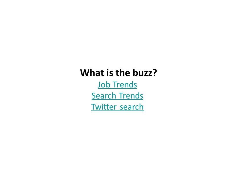 What is the buzz? Job Trends Search Trends Twitter search