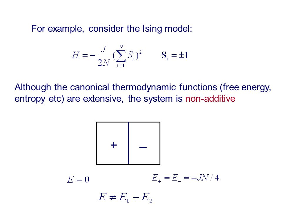 Although the canonical thermodynamic functions (free energy, entropy etc) are extensive, the system is non-additive + _ For example, consider the Ising model: