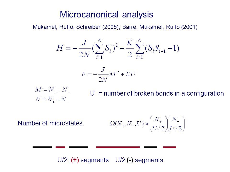 Microcanonical analysis U = number of broken bonds in a configuration Number of microstates: U/2 (+) segments U/2 (-) segments Mukamel, Ruffo, Schreiber (2005); Barre, Mukamel, Ruffo (2001)