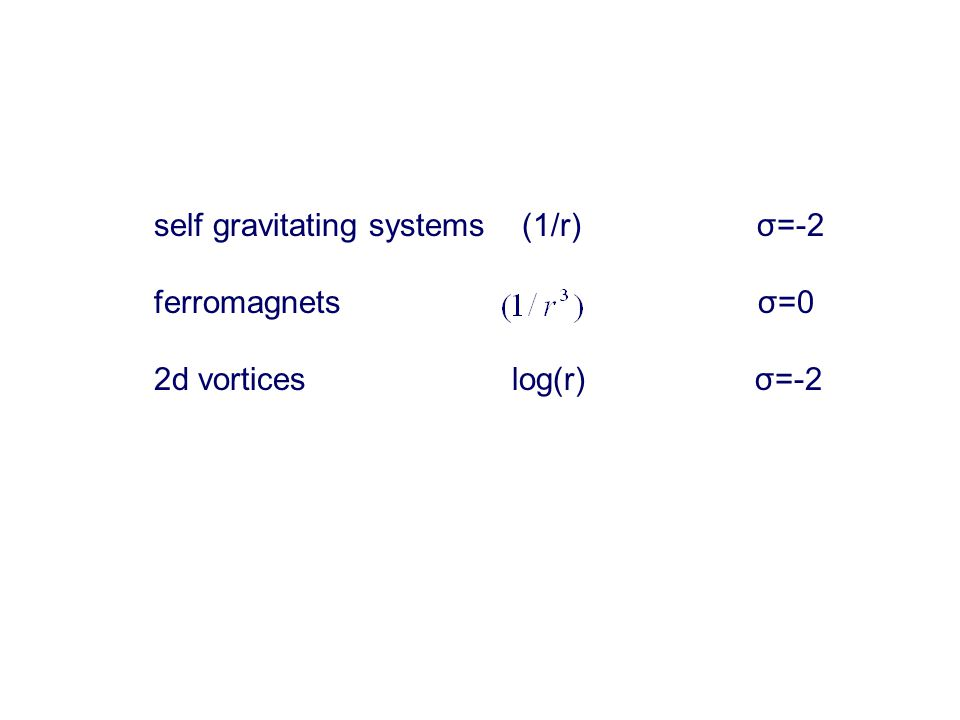 self gravitating systems (1/r) σ=-2 ferromagnets σ=0 2d vortices log(r) σ=-2