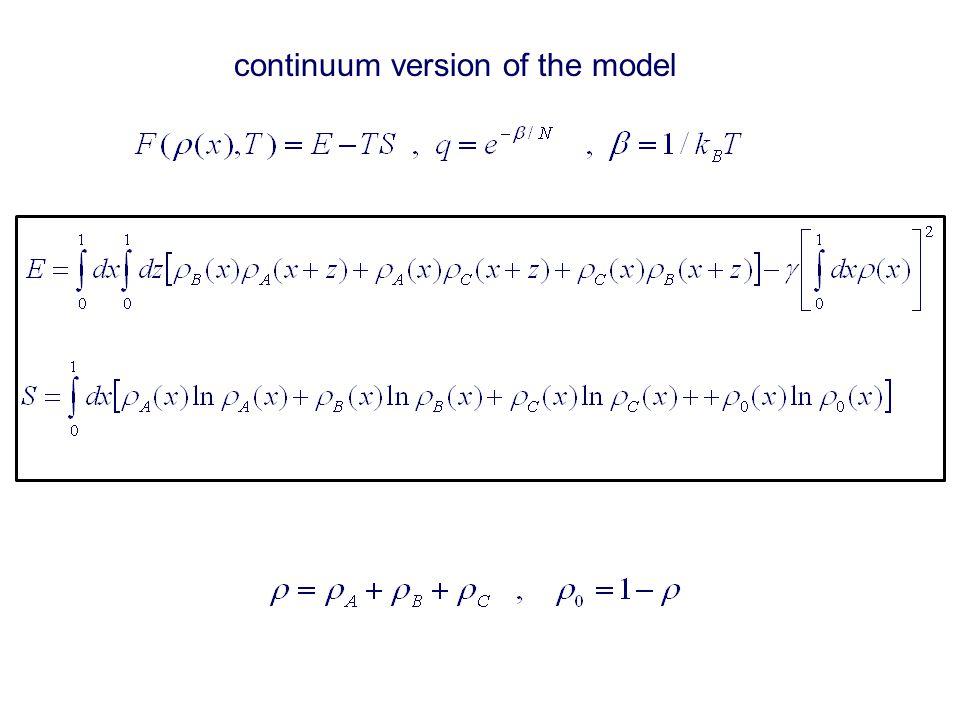 continuum version of the model