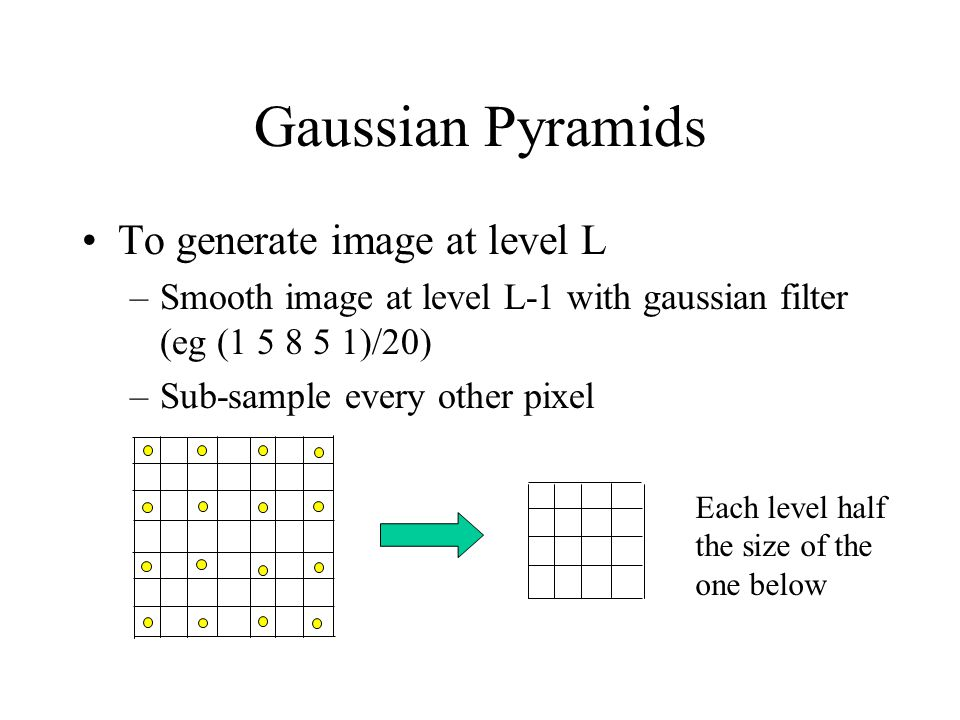 Gaussian Pyramids To generate image at level L –Smooth image at level L-1 with gaussian filter (eg ( )/20) –Sub-sample every other pixel Each level half the size of the one below