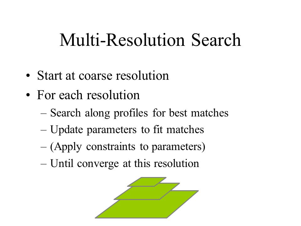 Multi-Resolution Search Start at coarse resolution For each resolution –Search along profiles for best matches –Update parameters to fit matches –(Apply constraints to parameters) –Until converge at this resolution