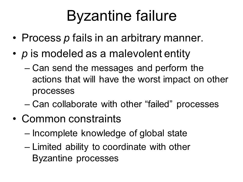 Byzantine failure Process p fails in an arbitrary manner.