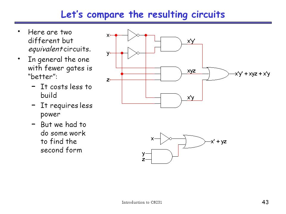 Introduction to CS231 43 Let's compare the resulting circuits Here are two different but equivalent circuits.
