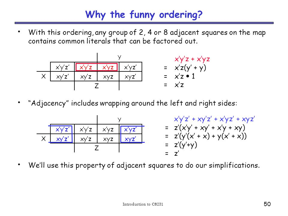 Introduction to CS231 50 Why the funny ordering.