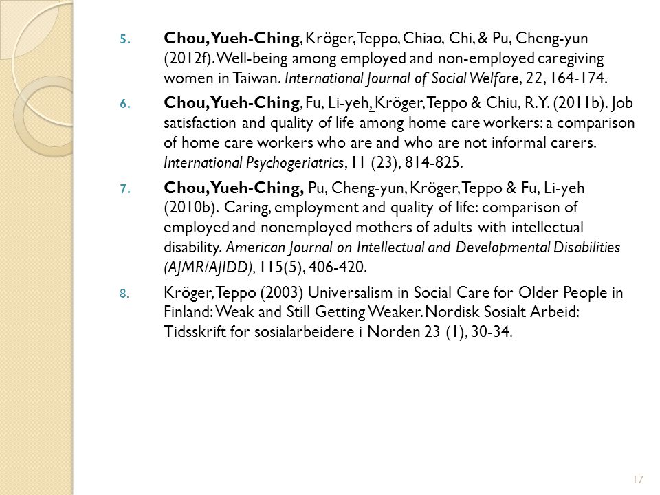 5. Chou, Yueh-Ching, Kröger, Teppo, Chiao, Chi, & Pu, Cheng-yun (2012f). Well-being among employed and non-employed caregiving women in Taiwan. Intern