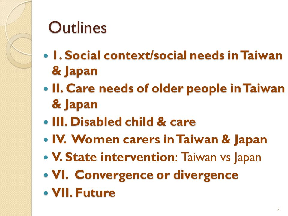 Outlines 1. Social context/social needs in Taiwan & Japan 1.