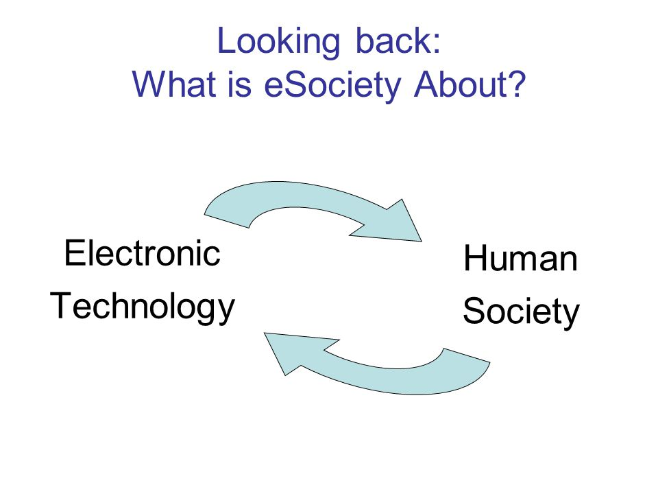 Looking back: What is eSociety About Electronic Technology Human Society