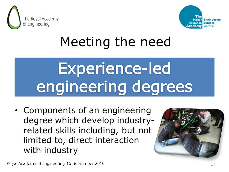 Meeting the need Components of an engineering degree which develop industry- related skills including, but not limited to, direct interaction with industry 17 Royal Academy of Engineering 16 September 2010
