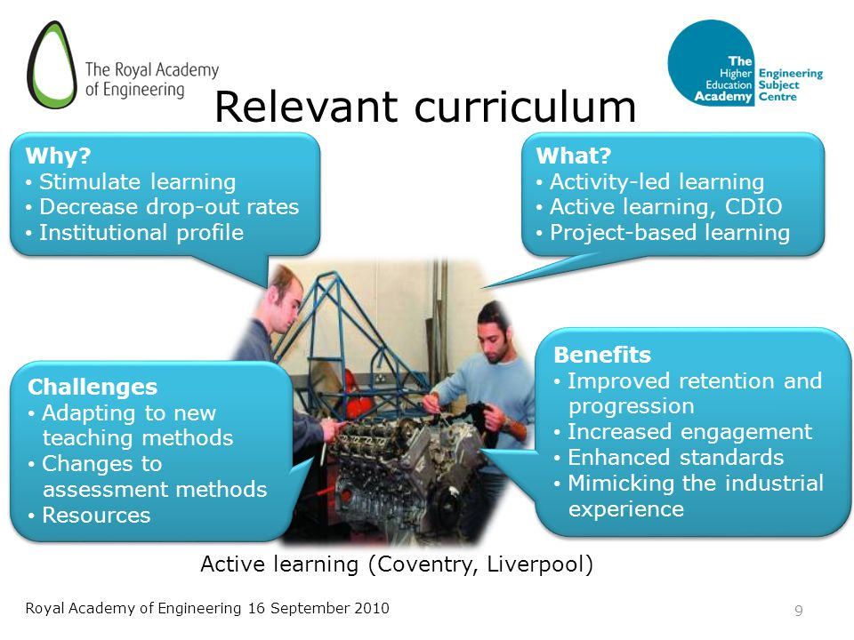 Active learning (Coventry, Liverpool) Relevant curriculum 9 Royal Academy of Engineering 16 September 2010 Why.