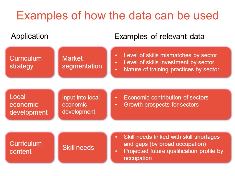 Examples of how the data can be used Market segmentation Level of skills mismatches by sector Level of skills investment by sector Nature of training practices by sector Level of skills mismatches by sector Level of skills investment by sector Nature of training practices by sector Application Examples of relevant data Curriculum strategy Input into local economic development Economic contribution of sectors Growth prospects for sectors Economic contribution of sectors Growth prospects for sectors Local economic development Skill needs Skill needs linked with skill shortages and gaps (by broad occupation) Projected future qualification profile by occupation Skill needs linked with skill shortages and gaps (by broad occupation) Projected future qualification profile by occupation Curriculum content