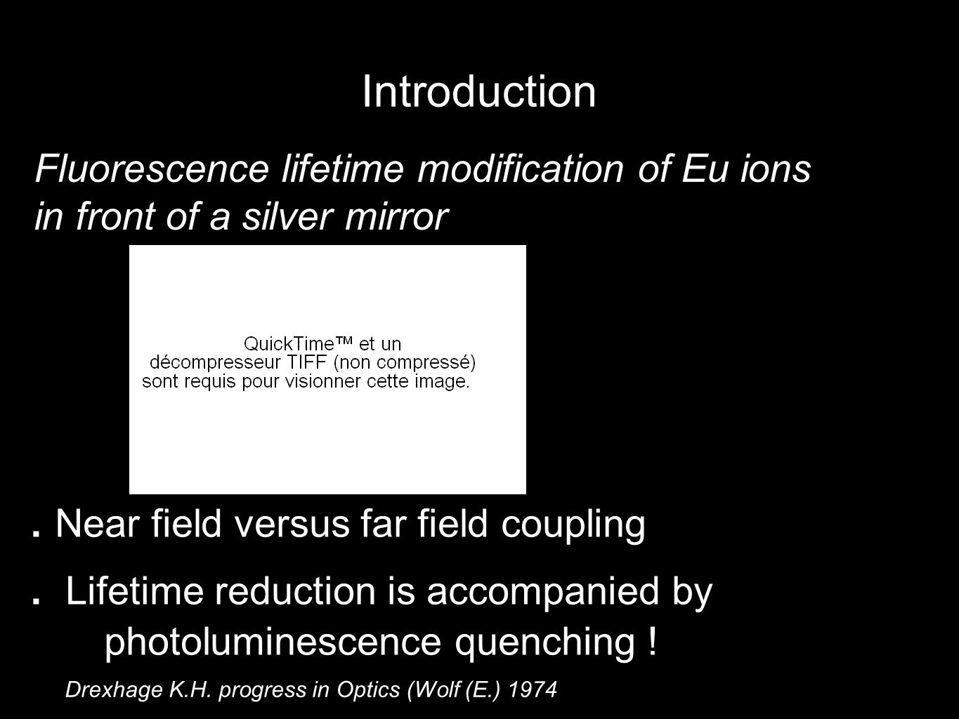 Introduction Fluorescence lifetime modification of Eu ions in front of a silver mirror Drexhage K.H.