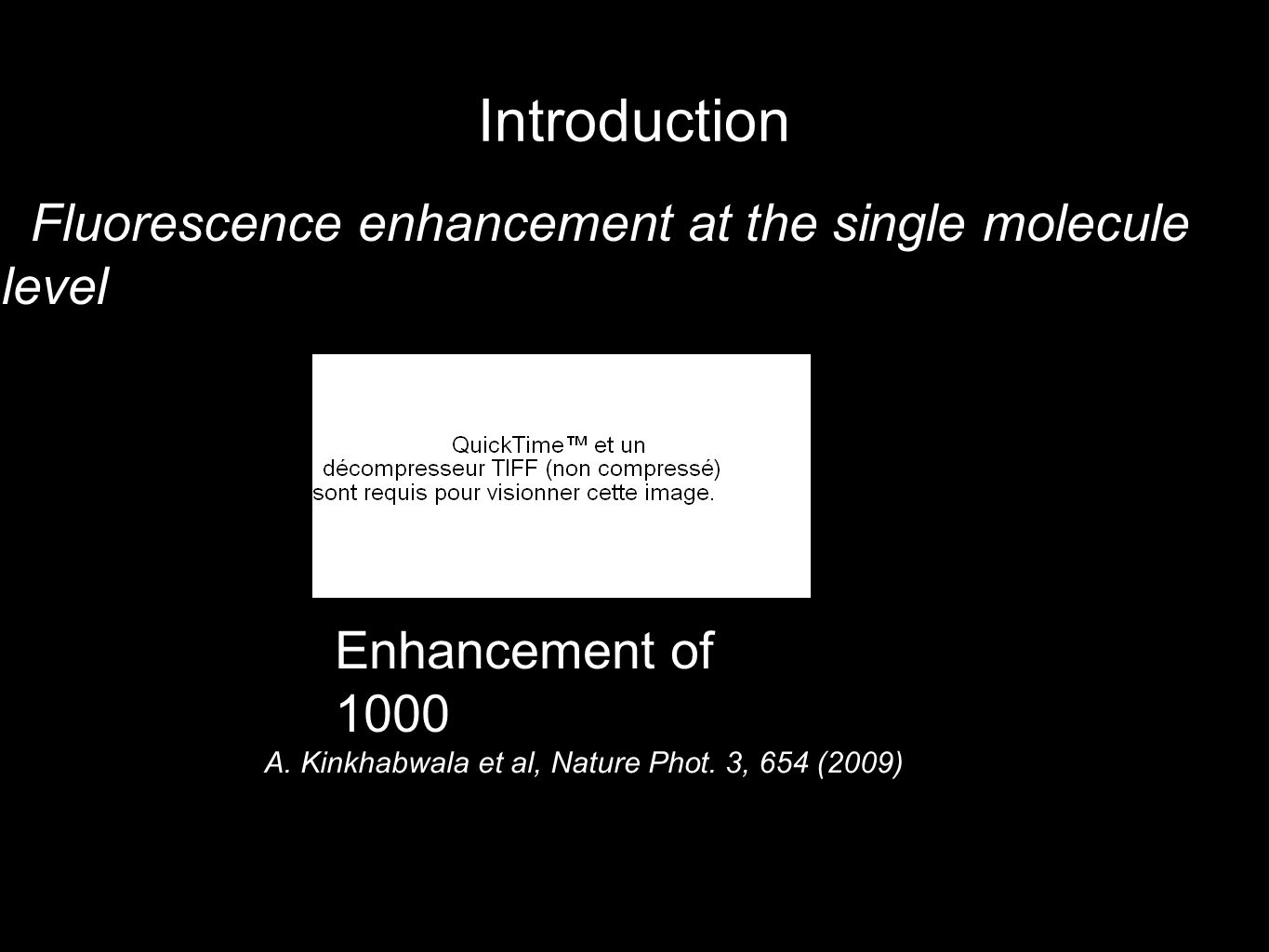 Introduction Fluorescence enhancement at the single molecule level Enhancement of 1000 A.