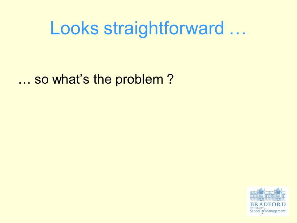 Looks straightforward … … so what's the problem