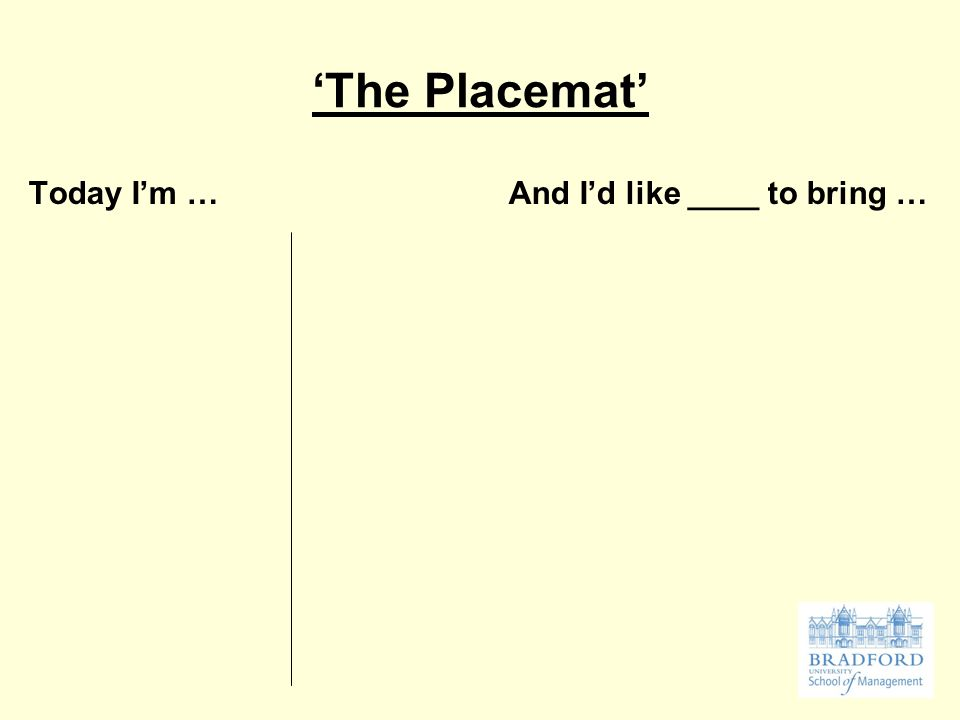 'The Placemat' Today I'm … And I'd like ____ to bring …