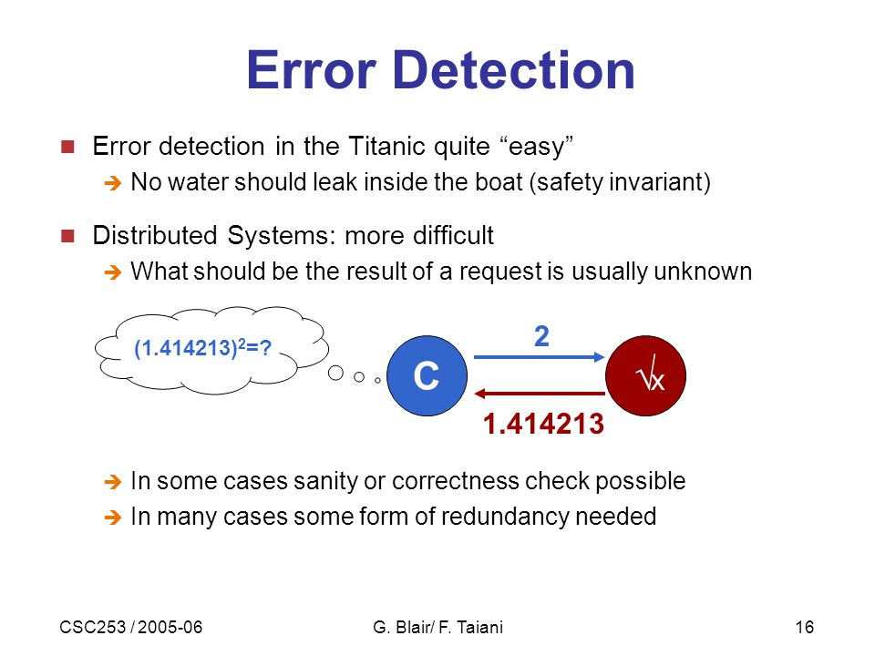 """CSC253 / 2005-06G. Blair/ F. Taiani16 Error Detection Error detection in the Titanic quite """"easy""""  No water should leak inside the boat (safety invar"""