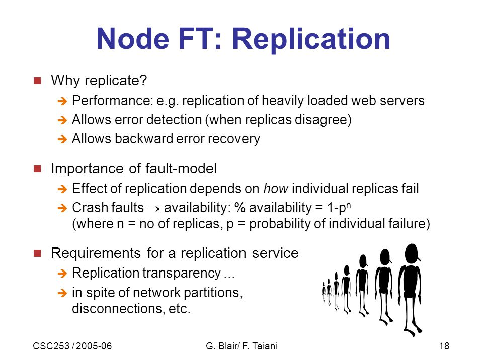 CSC253 / 2005-06G. Blair/ F. Taiani18 Node FT: Replication Why replicate.