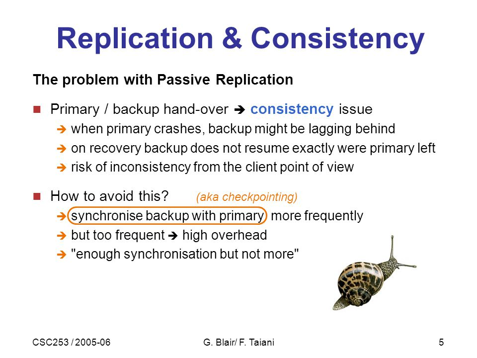 CSC253 / 2005-06G. Blair/ F. Taiani5 Replication & Consistency The problem with Passive Replication Primary / backup hand-over  consistency issue  w