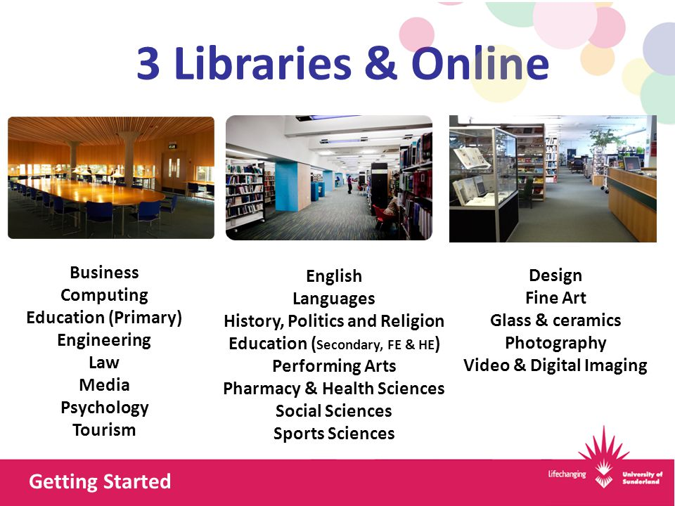 3 Libraries & Online Business Computing Education (Primary) Engineering Law Media Psychology Tourism English Languages History, Politics and Religion