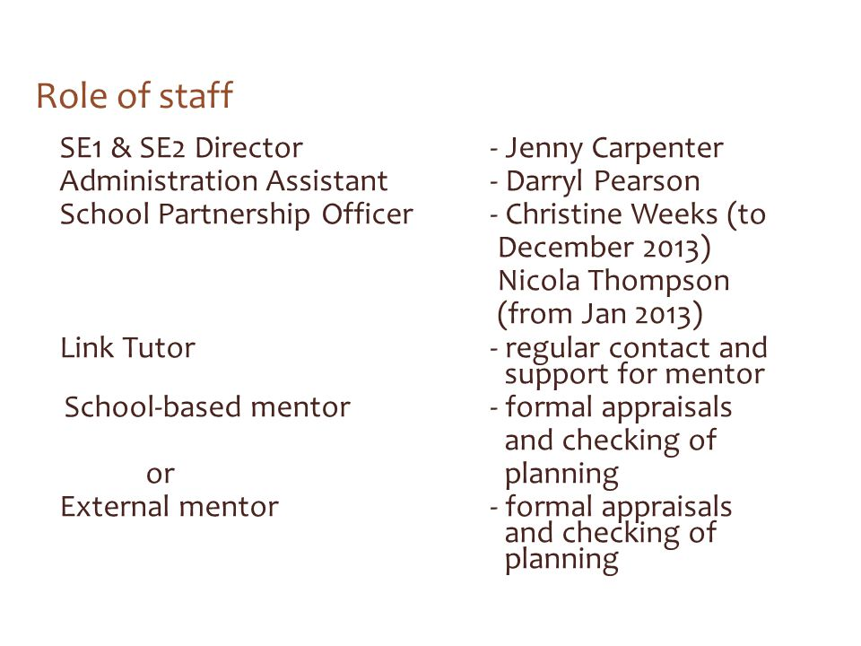 Role of staff SE1 & SE2 Director- Jenny Carpenter Administration Assistant- Darryl Pearson School Partnership Officer- Christine Weeks (to December 2013) Nicola Thompson (from Jan 2013) Link Tutor- regular contact and support for mentor School-based mentor- formal appraisals and checking of or planning External mentor- formal appraisals and checking of planning
