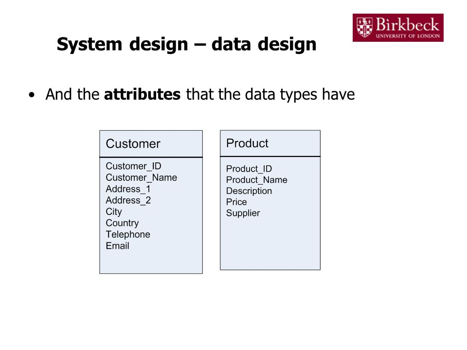 System design – data design And the attributes that the data types have