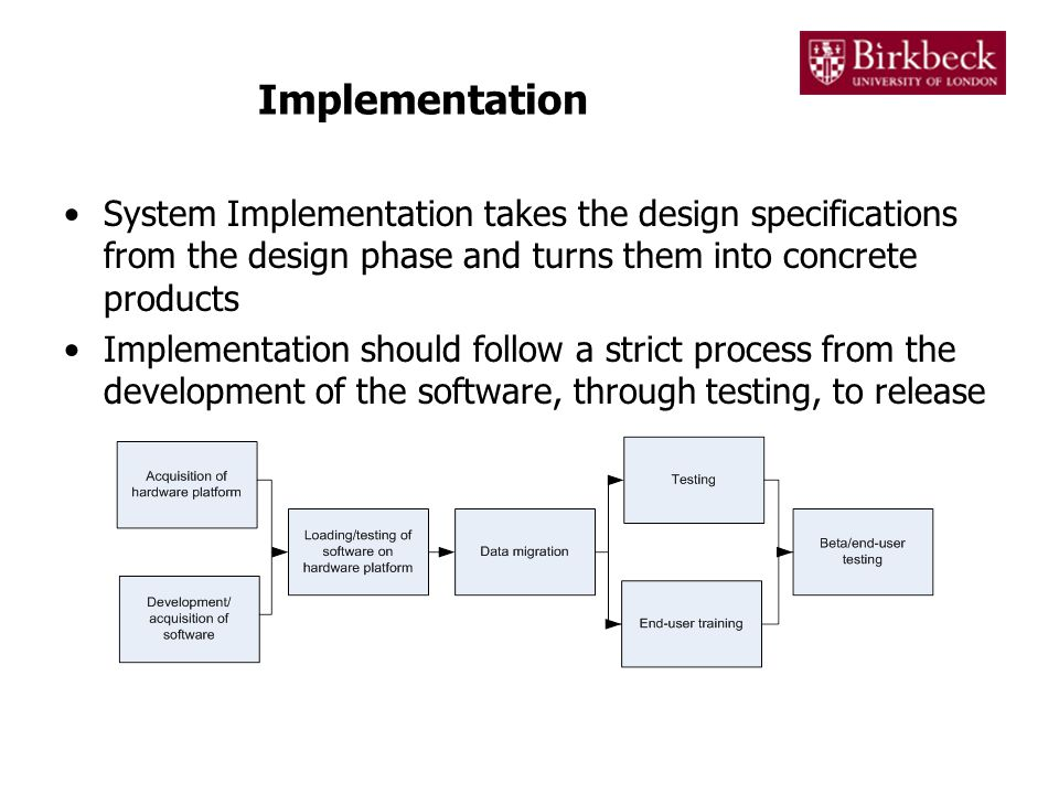 Implementation System Implementation takes the design specifications from the design phase and turns them into concrete products Implementation should follow a strict process from the development of the software, through testing, to release