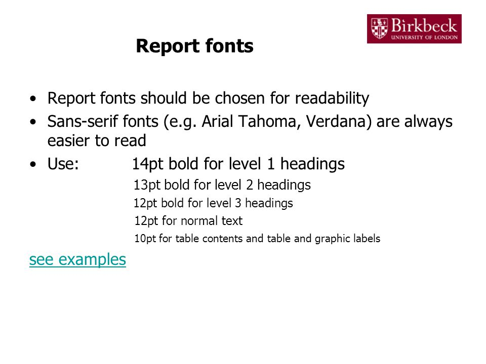 Report spacing and margins Reports should be neatly laid out with sufficient and consistent spacing between elements.
