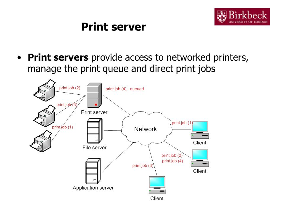 Print server Print servers provide access to networked printers, manage the print queue and direct print jobs
