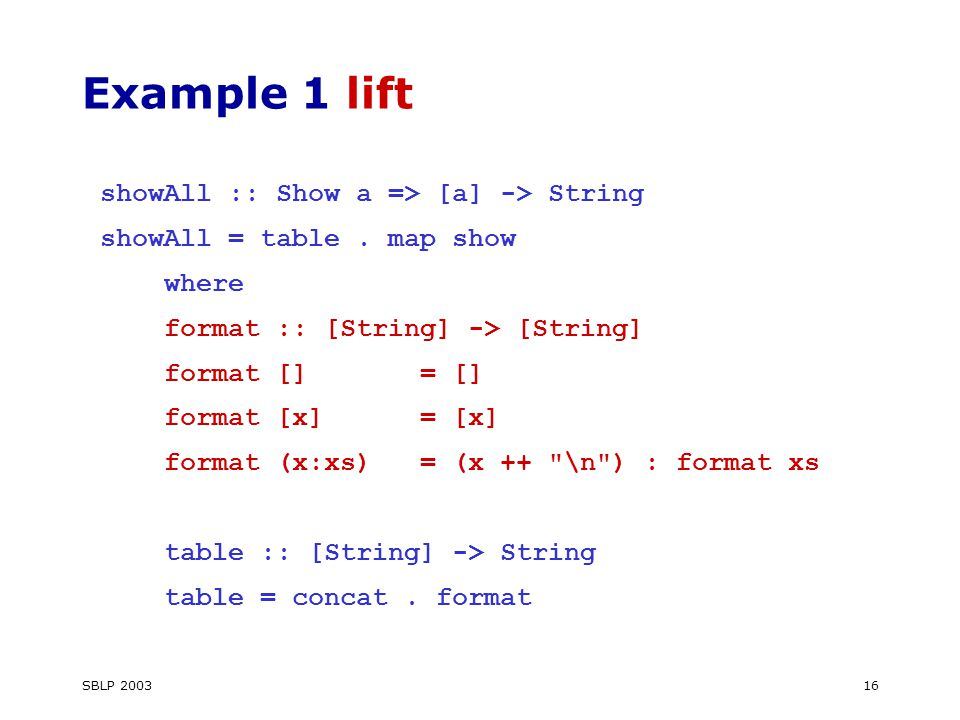 SBLP 200316 Example 1 lift showAll :: Show a => [a] -> String showAll = table.