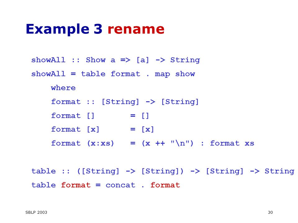 SBLP Example 3 rename showAll :: Show a => [a] -> String showAll = table format.
