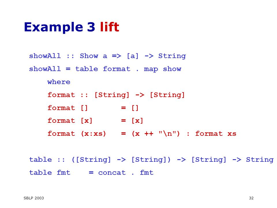SBLP Example 3 lift showAll :: Show a => [a] -> String showAll = table format.