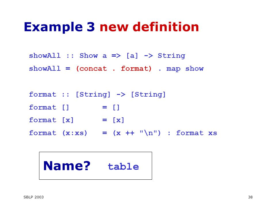 SBLP Example 3 new definition showAll :: Show a => [a] -> String showAll = (concat.
