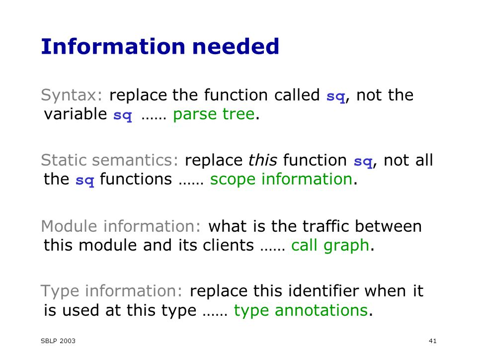SBLP 200341 Information needed Syntax: replace the function called sq, not the variable sq …… parse tree.