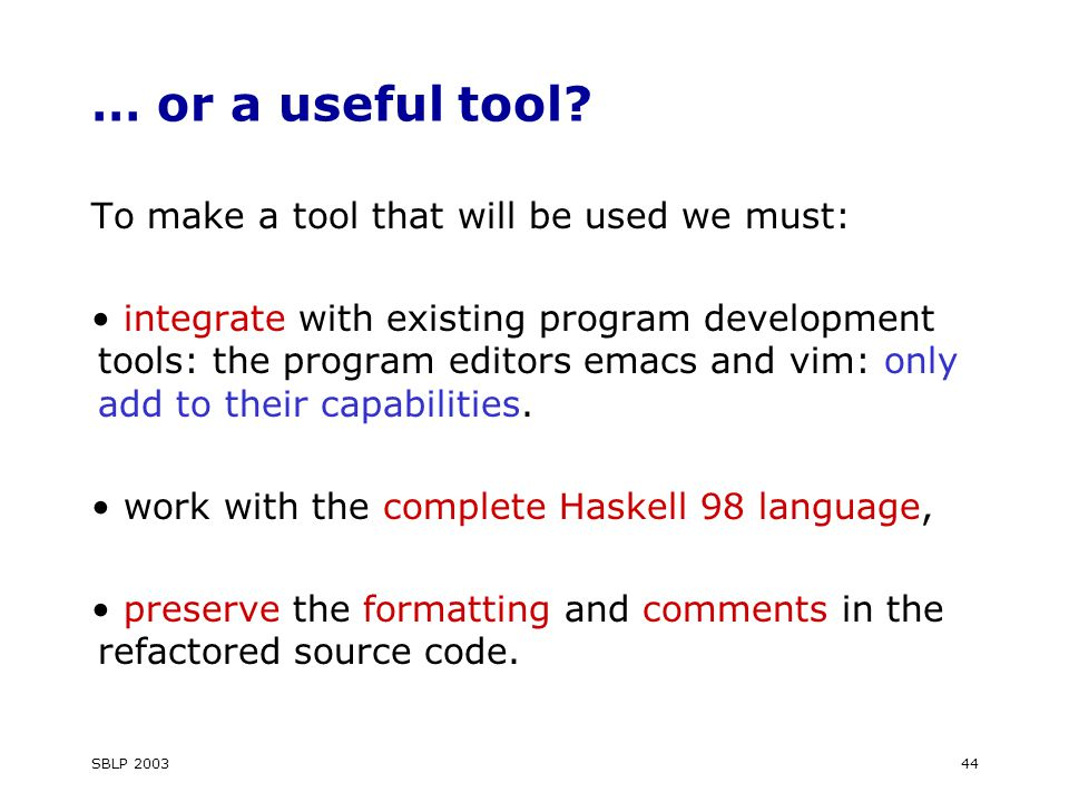 SBLP 200344 … or a useful tool.
