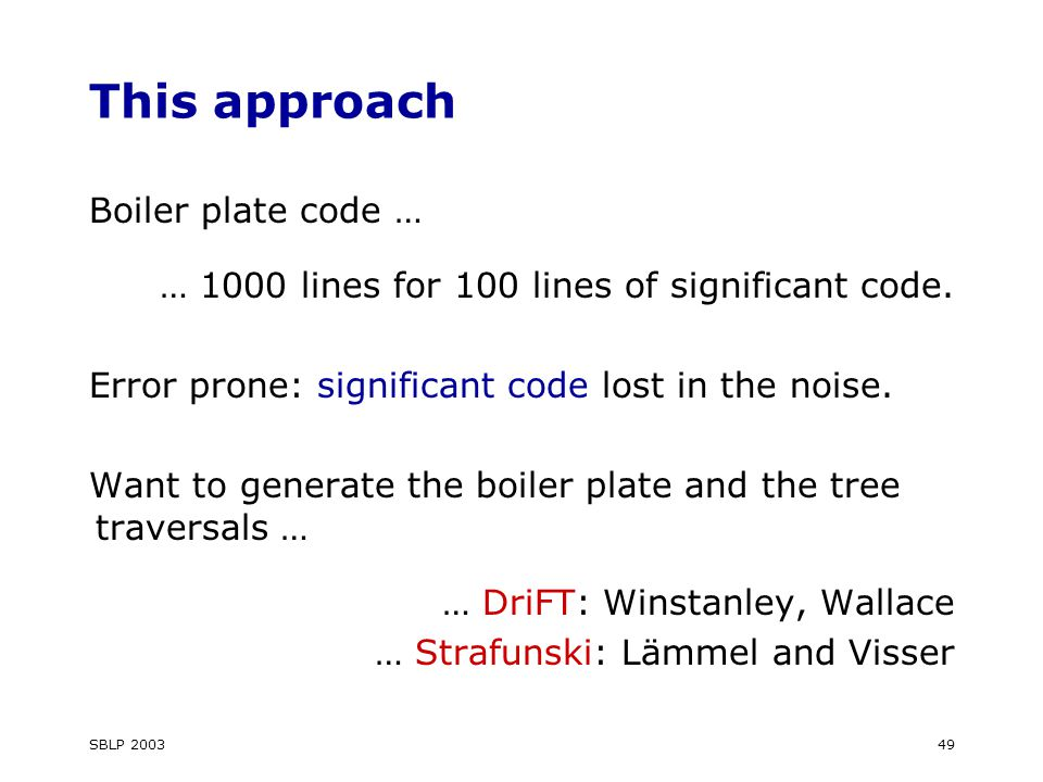 SBLP This approach Boiler plate code … … 1000 lines for 100 lines of significant code.