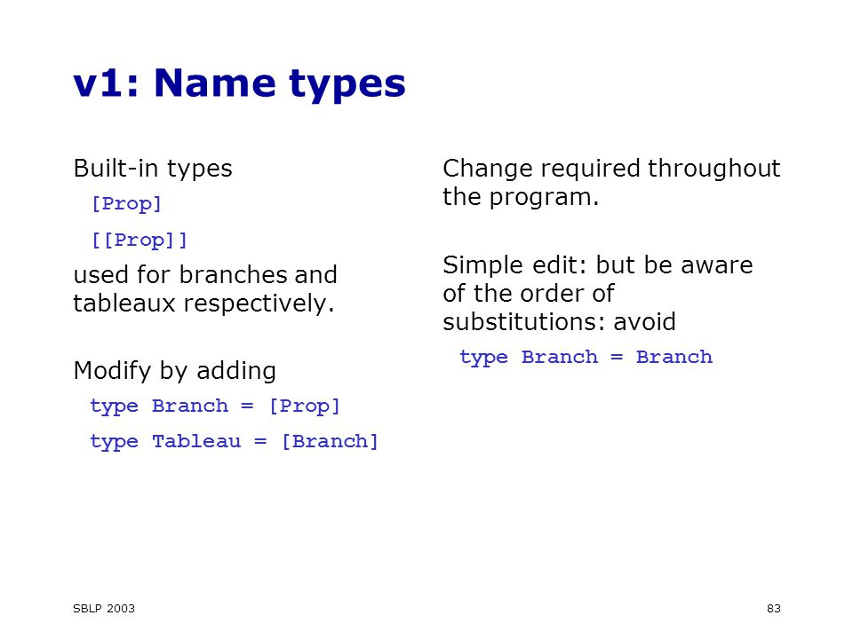 SBLP 200383 v1: Name types Built-in types [Prop] [[Prop]] used for branches and tableaux respectively.