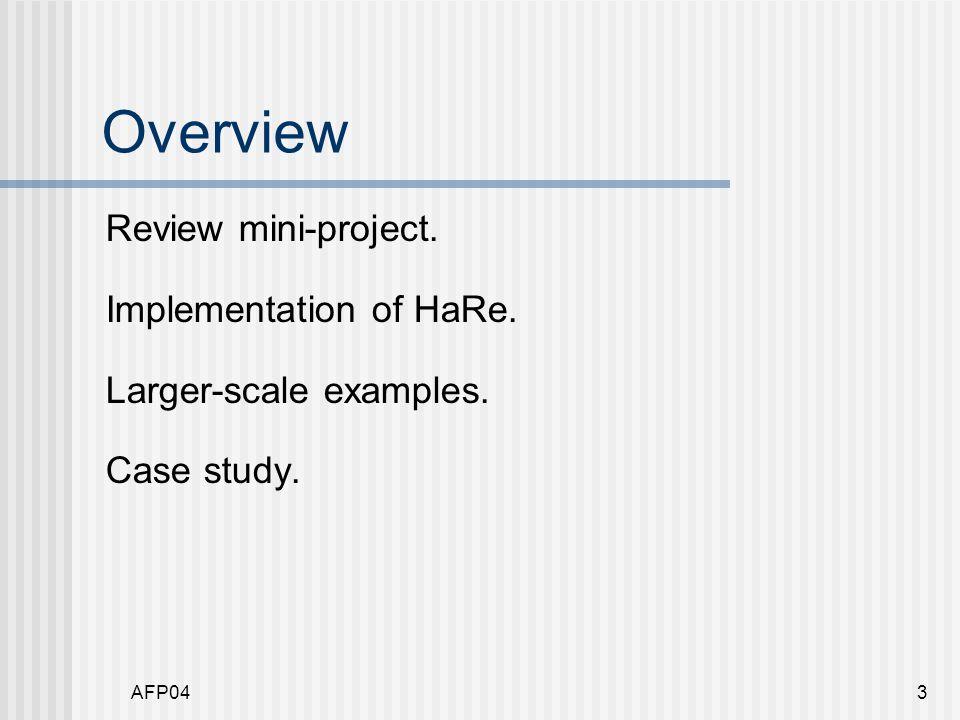 AFP044 Mini-project feedback Refactorings performed.