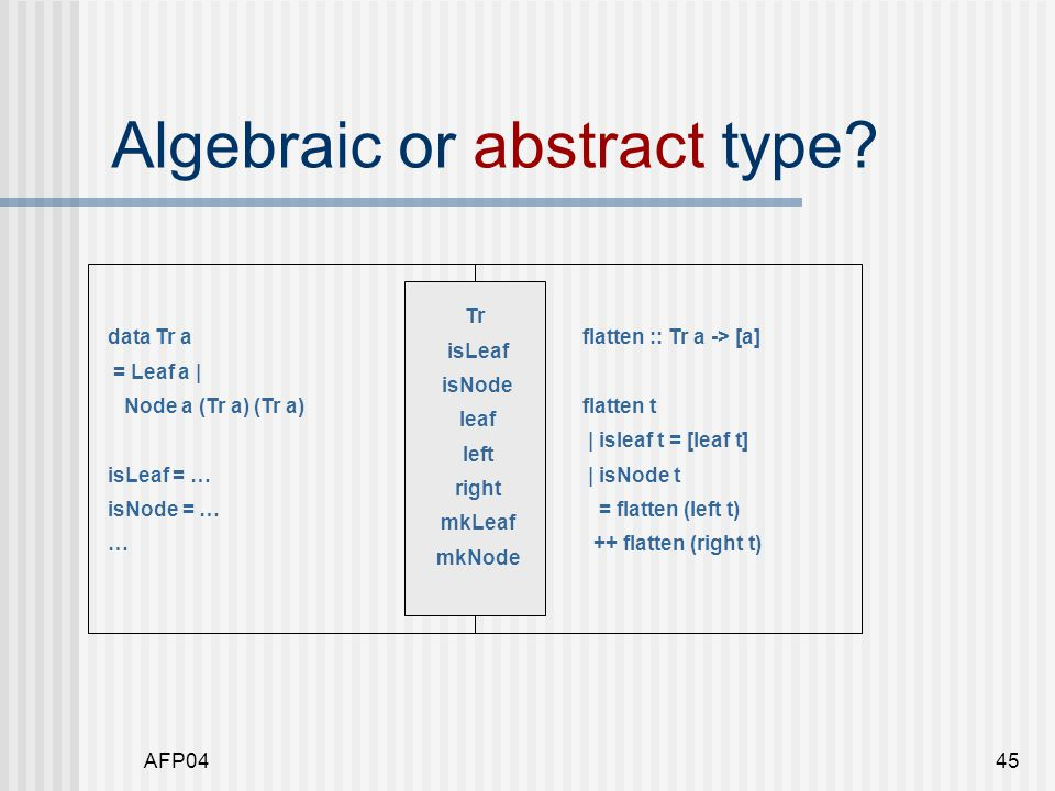 AFP0445 Algebraic or abstract type.