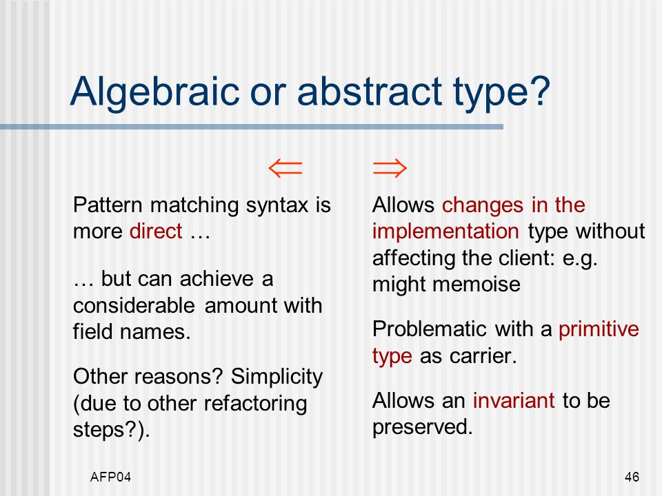 AFP0446 Algebraic or abstract type.