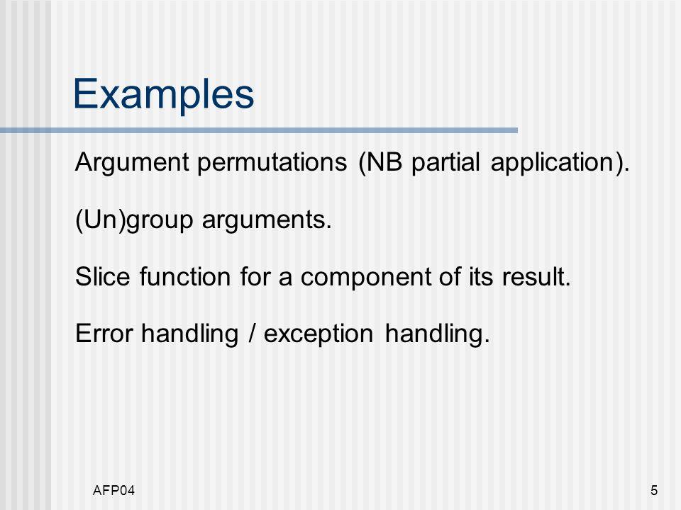 AFP0456 Monadification: evaulation 2 eval :: Expr -> evalST :: Expr -> Store -> (Integer, Store) State Store Integer eval (Add e1 e2) st evalST (Add e1 e2) = (v1+v2, st2) = do where v1 <- evalST e1 (v1,st1) = eval e1 st v2 <- evalST e2 (v2,st2) = eval e2 st1 return (v1+v2) eval (Assign x e) st evalST (Assign x e) = (v, update st x v) = do where v <- evalST e (v,st ) = eval e st st <- get put (update st x v) return v