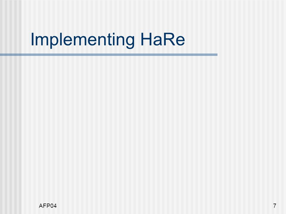 AFP047 Implementing HaRe