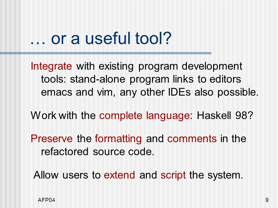 AFP0440 Where next.Opening up to users: API or little language.