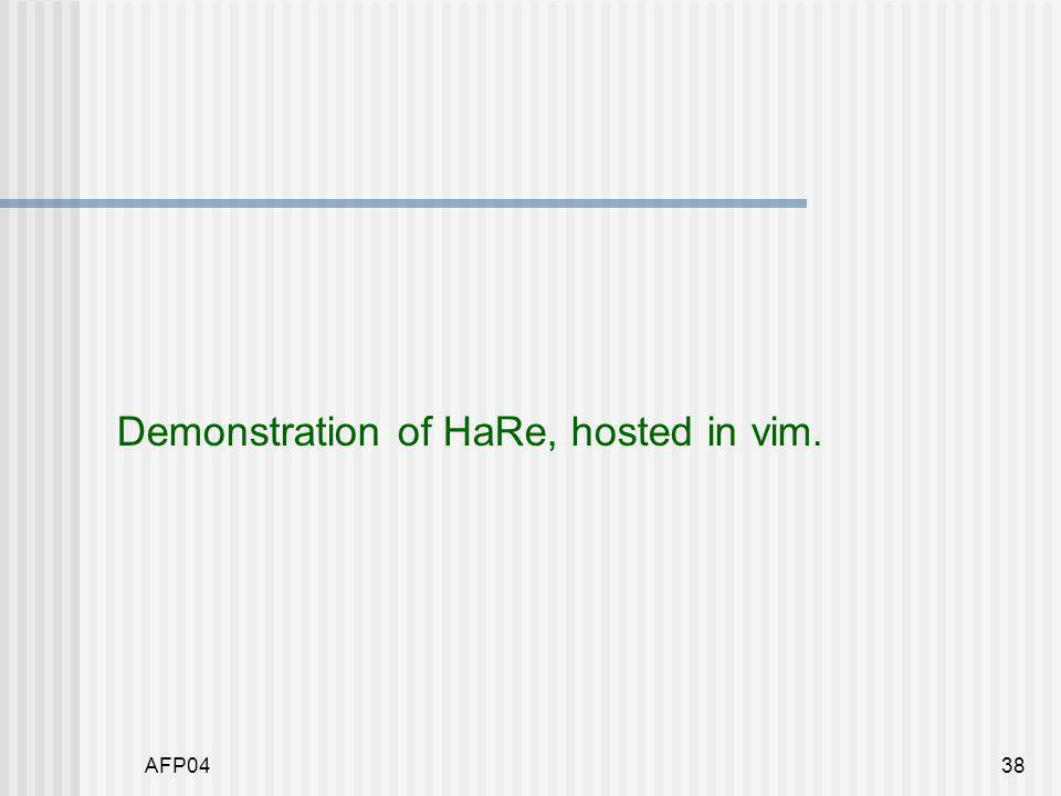 AFP0438 Demonstration of HaRe, hosted in vim.