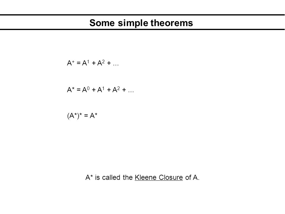 Some simple theorems A* = A 0 + A 1 + A 2 +... (A*)* = A* A + = A 1 + A 2 +...