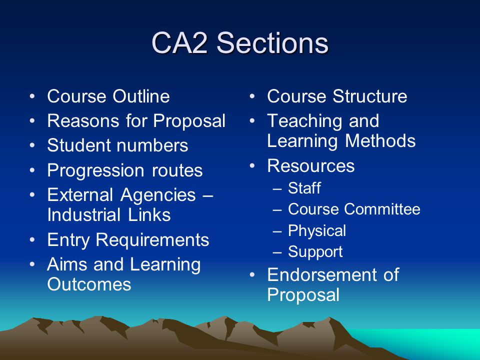 CA2 Sections Course Outline Reasons for Proposal Student numbers Progression routes External Agencies – Industrial Links Entry Requirements Aims and Learning Outcomes Course Structure Teaching and Learning Methods Resources –Staff –Course Committee –Physical –Support Endorsement of Proposal