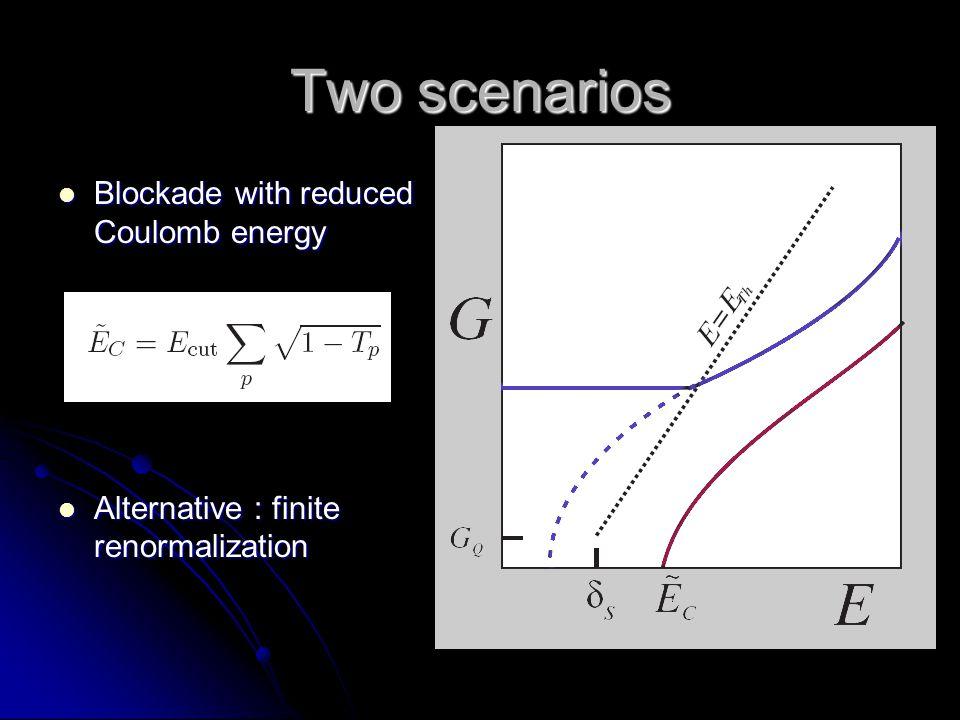 Two scenarios Blockade with reduced Coulomb energy Blockade with reduced Coulomb energy Alternative : finite renormalization Alternative : finite renormalization
