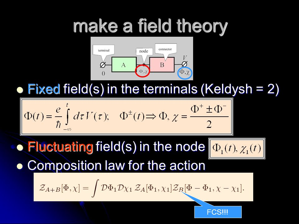 make a field theory Fixed field(s) in the terminals (Keldysh = 2) Fixed field(s) in the terminals (Keldysh = 2) Fluctuating field(s) in the node Fluctuating field(s) in the node Composition law for the action Composition law for the action FCS!!!