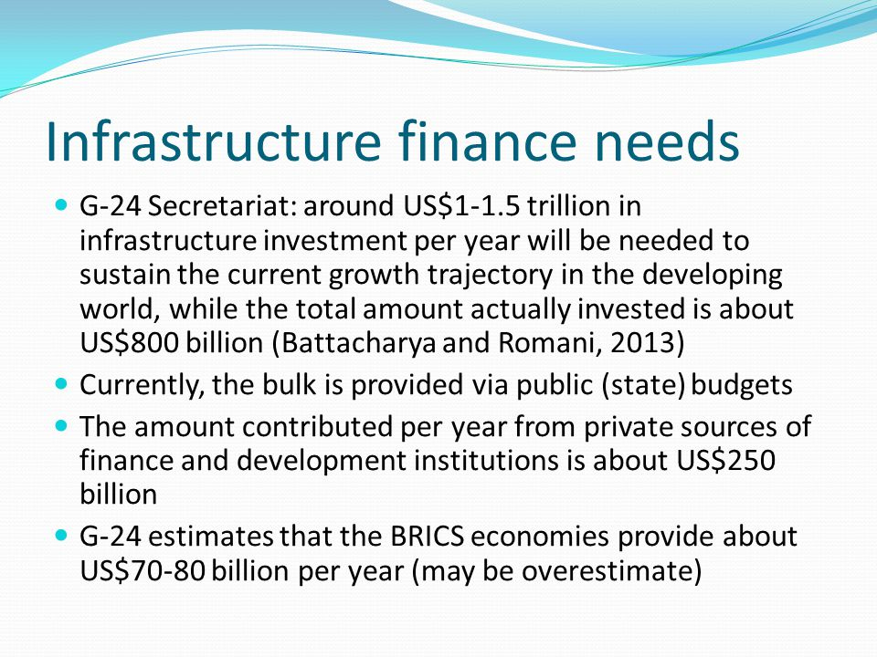 Infrastructure finance needs G-24 Secretariat: around US$1-1.5 trillion in infrastructure investment per year will be needed to sustain the current growth trajectory in the developing world, while the total amount actually invested is about US$800 billion (Battacharya and Romani, 2013) Currently, the bulk is provided via public (state) budgets The amount contributed per year from private sources of finance and development institutions is about US$250 billion G-24 estimates that the BRICS economies provide about US$70-80 billion per year (may be overestimate)